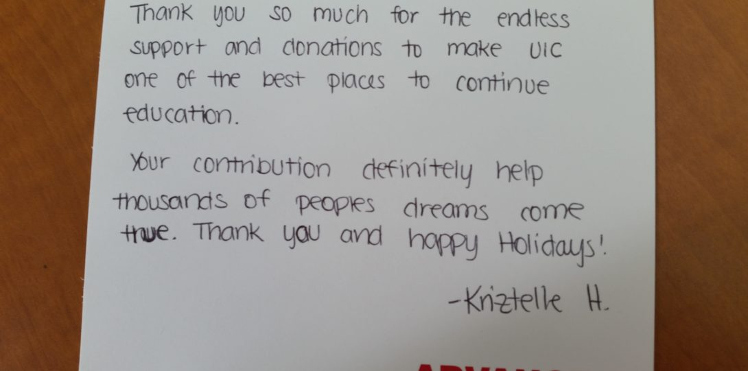 Student's thank you note to UIC donor